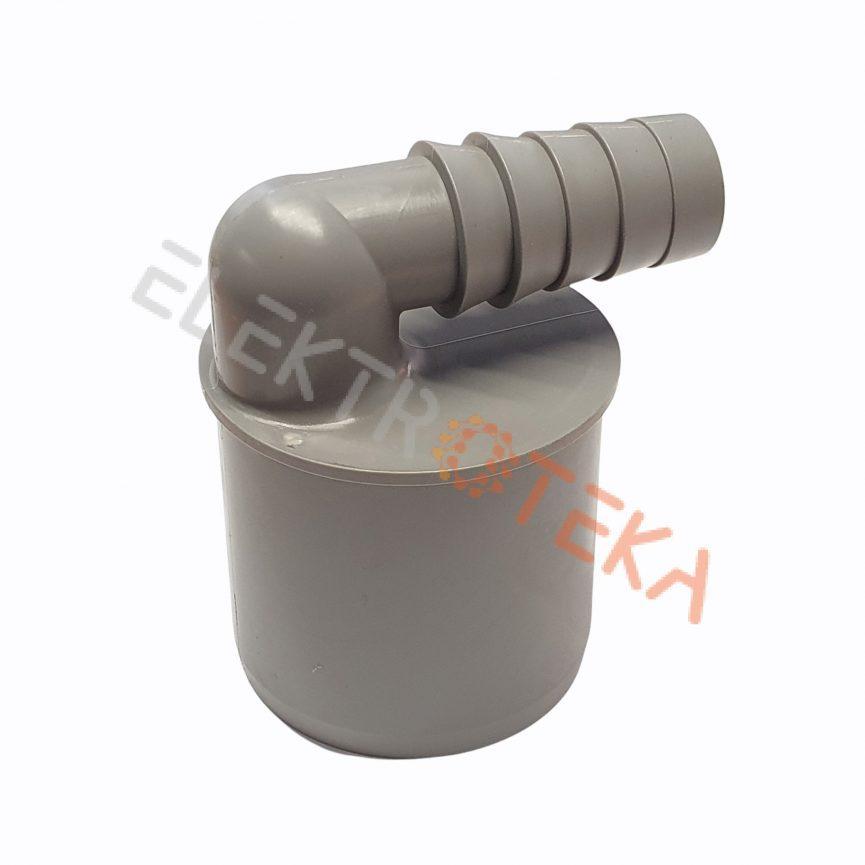 Drenažinės žarnos jungtis vamzdžiui DN50 kampas 90° žarnos diametrai ID 19/21mm