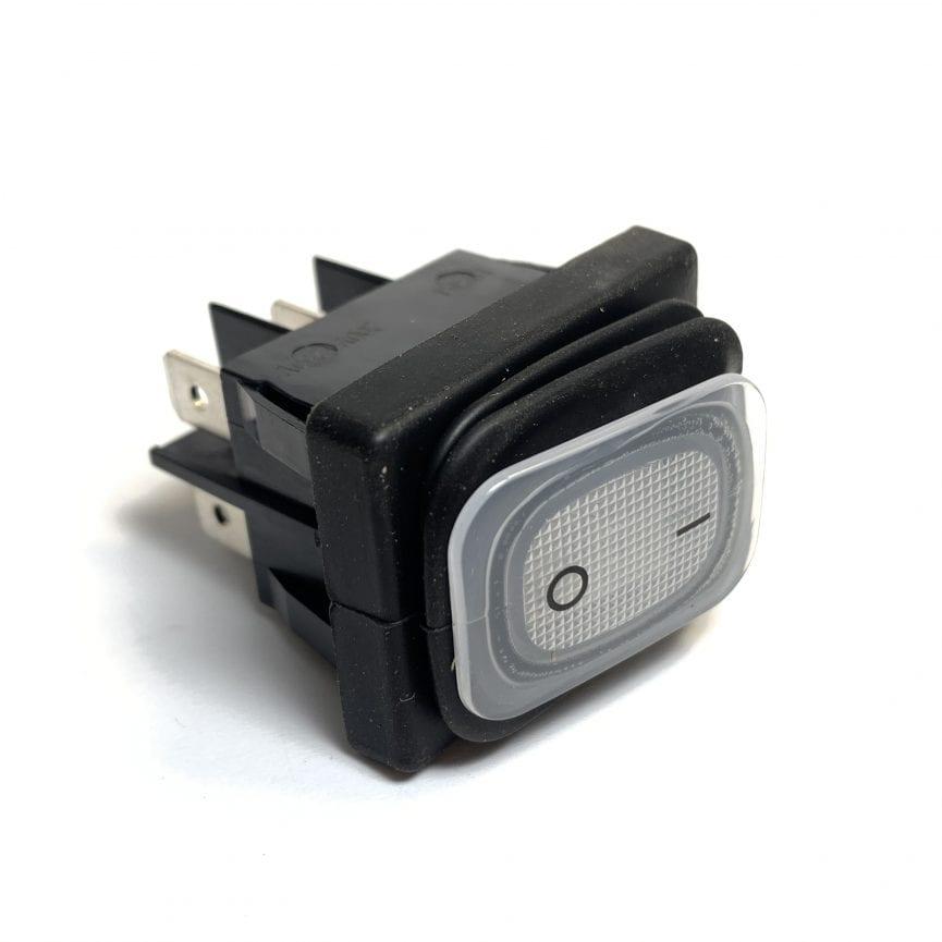 Hermetinis jungiklis su pašvietimu montažinis matmuo 30x22mm 2NO 250V 10A IP65 simbolis 0-1 baltas