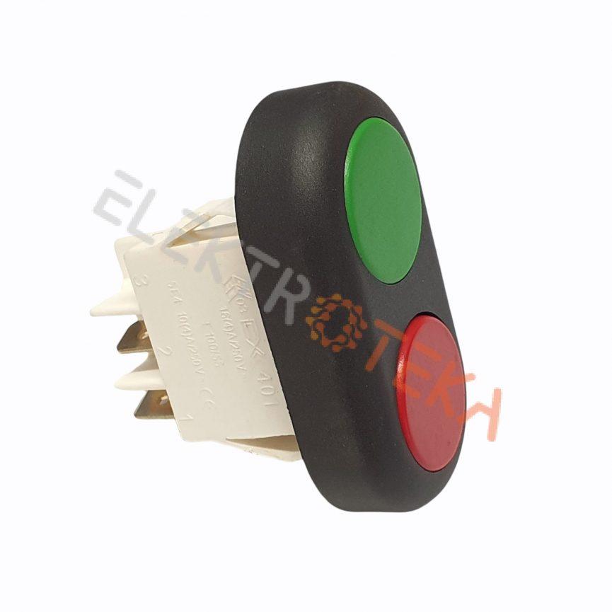Jungiklis žalias/raudonas 2NO 16A 230V montažinis diametras 22x30 mm