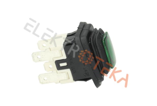 Jungiklis hermetinis montažinis matmuo 20x13mm kontaktai 2NO 250V 16A žalias su pašvietimu