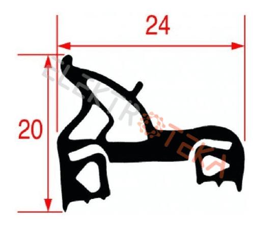 Durų tarpinė profilis 2520 430x635 mm išorinis matmuo