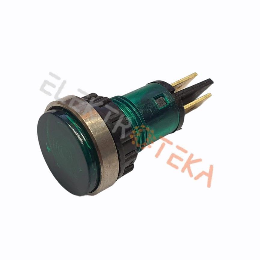 Indikacinė lemputė ø 12mm 230V žalia su veržle kontaktai 6.3mm