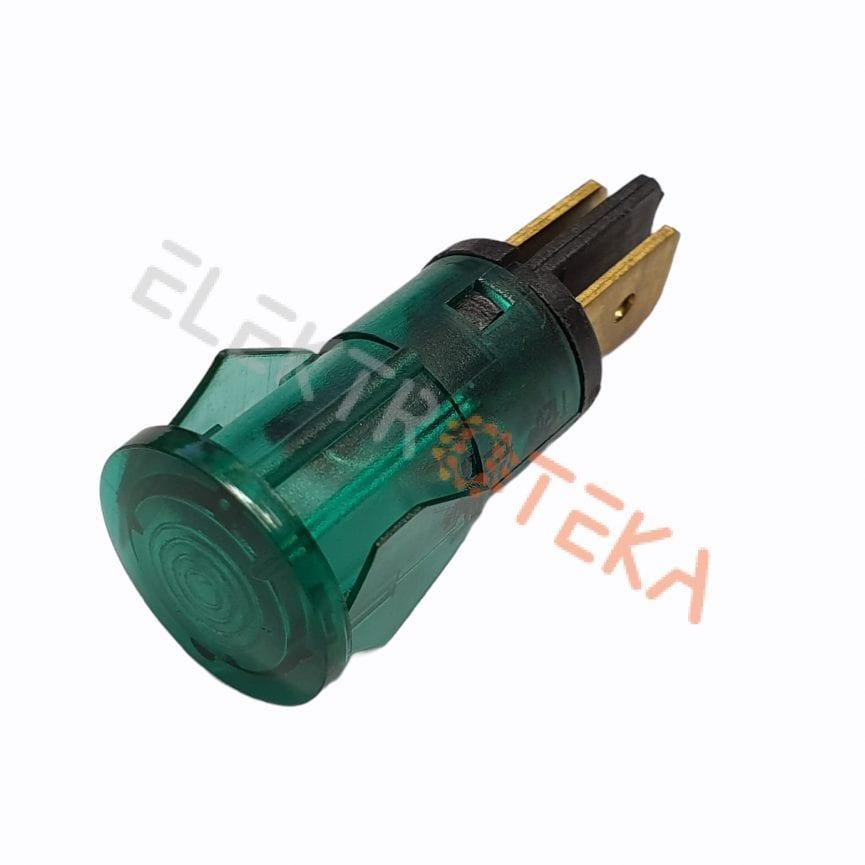 Indikacinė lemputė ø 12mm 230V žalia kontaktai 6.3mm