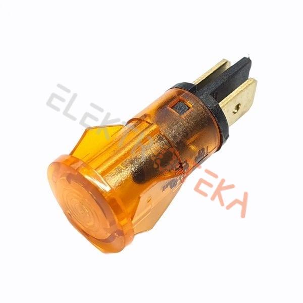 Indikacinė lemputė ø 12mm 230V oranžinė kontaktai 6.3mm