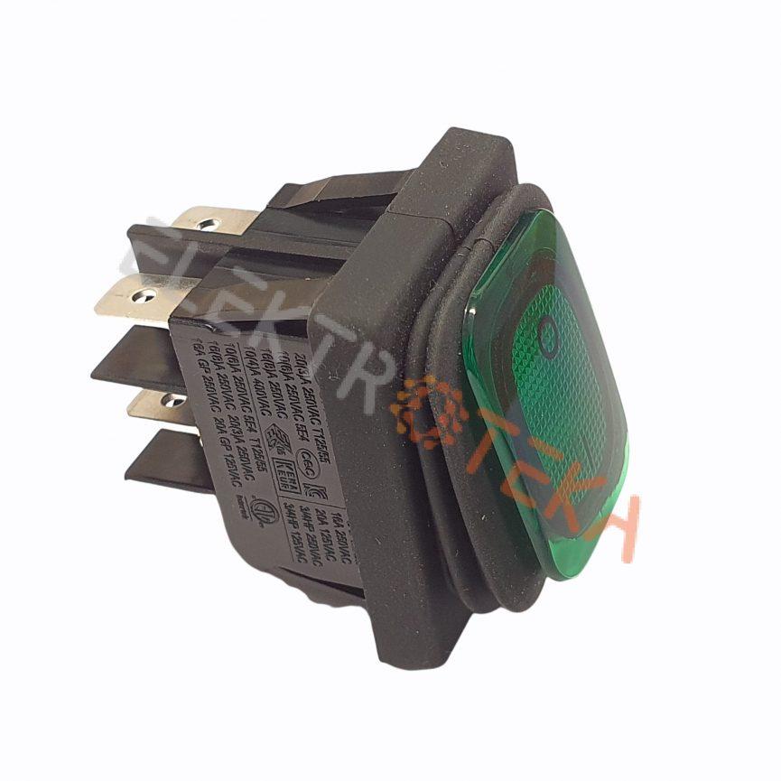Hermetinis jungiklis su pašvietimu montažinis matmuo 30x22mm 2NO 250V 16A IP65