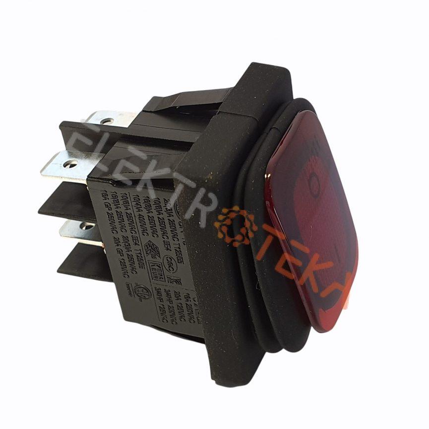 Hermetinis jungiklis su pašvietimu 30x22mm 2NO 250V 16A IP65