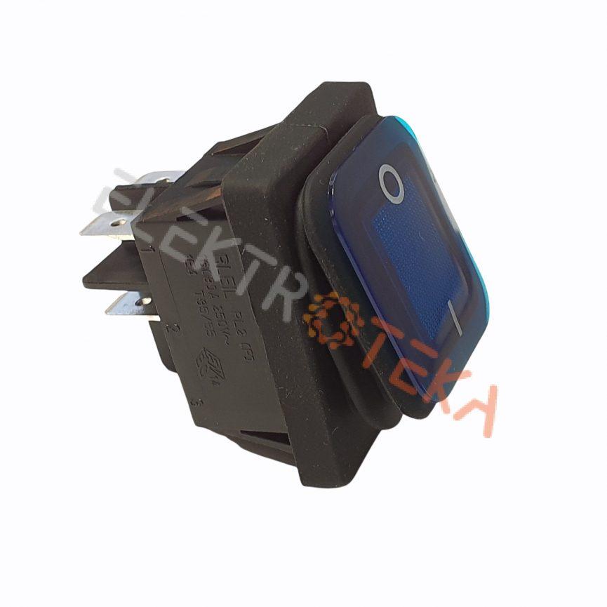Hermetinis jungiklis su pašvietimu montažinis matmuo 30x22mm 2NO 250V 16A IP65 simbolis 0-1 mėlynas