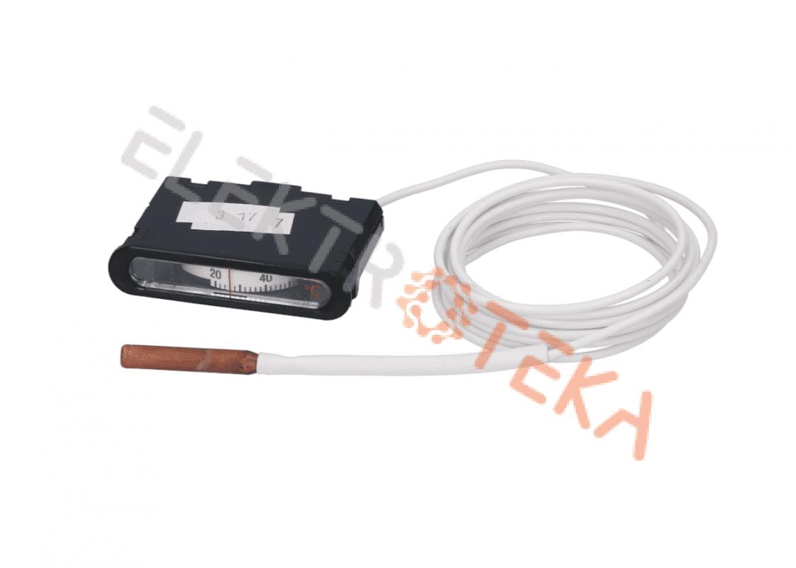 Termometras +20 iki +120°C montažinis matmuo 62x11 mm kapiliaro ilgis 2000mm