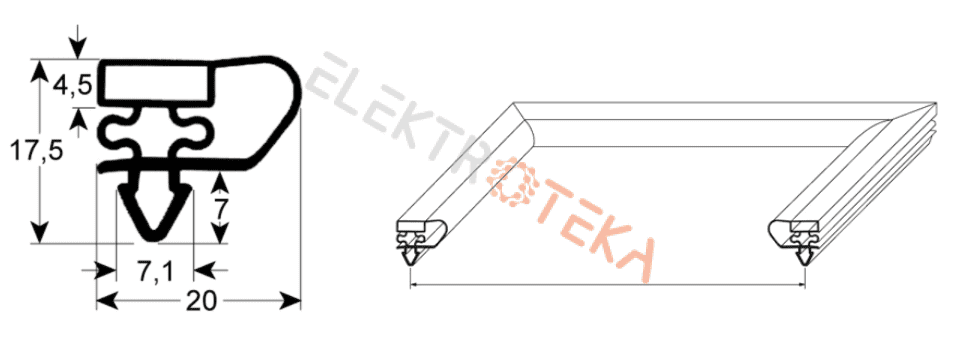 9153 profilis L1 453mm L2 583mm montavimo centrų matmenys