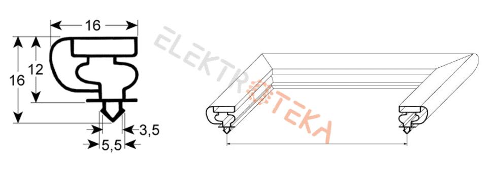9154 profilis L1 598mm L2 1555mm montavimo centrų matmenys